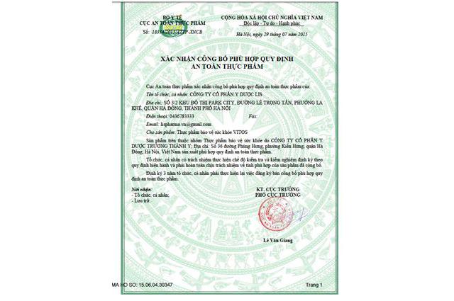 giấy phép dạ dày vitos