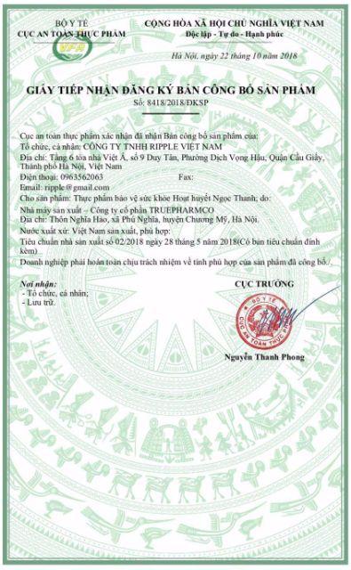 giấy phép hoạt huyết ngọc thanh